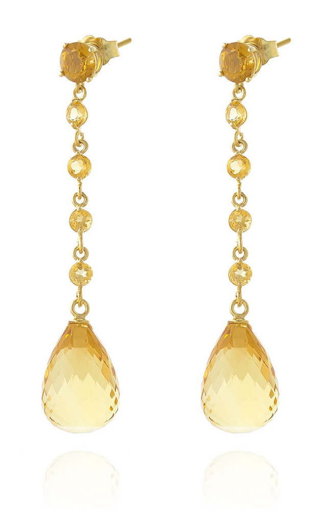 Citrine by the Yard Drop Earrings 23 ctw in 9ct Gold
