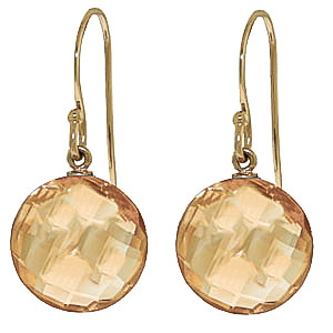 Citrine Chequer Drop Earrings 12 ctw in 9ct Gold