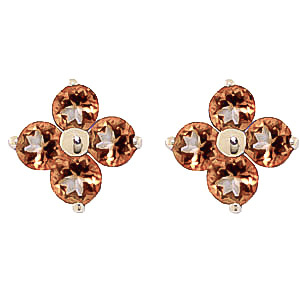 Citrine Clover Stud Earrings 1.15 ctw in 9ct Gold