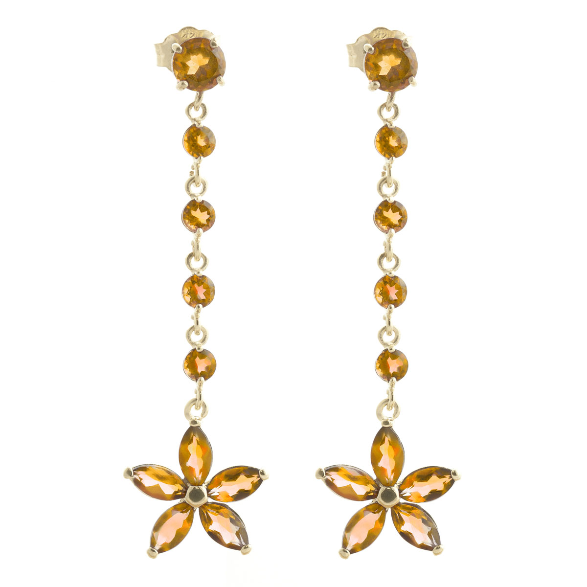 Citrine Daisy Chain Drop Earrings 4.8 ctw in 9ct Gold