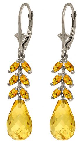 Citrine Drop Earrings 11.2 ctw in 9ct White Gold