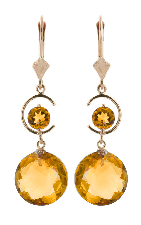 Citrine Drop Earrings 11.6 ctw in 9ct Rose Gold