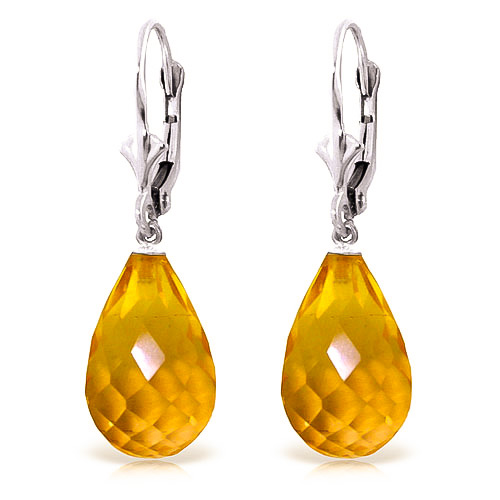 Citrine Drop Earrings 14 ctw in 9ct White Gold