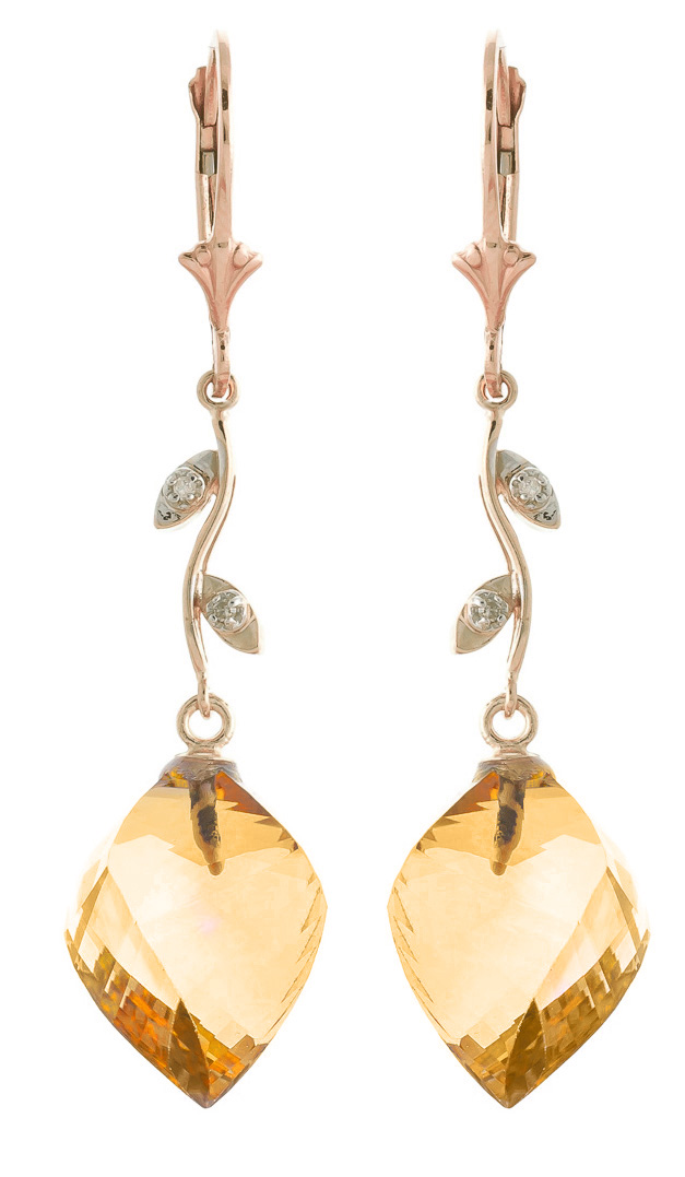 Citrine Drop Earrings 23.52 ctw in 9ct Rose Gold
