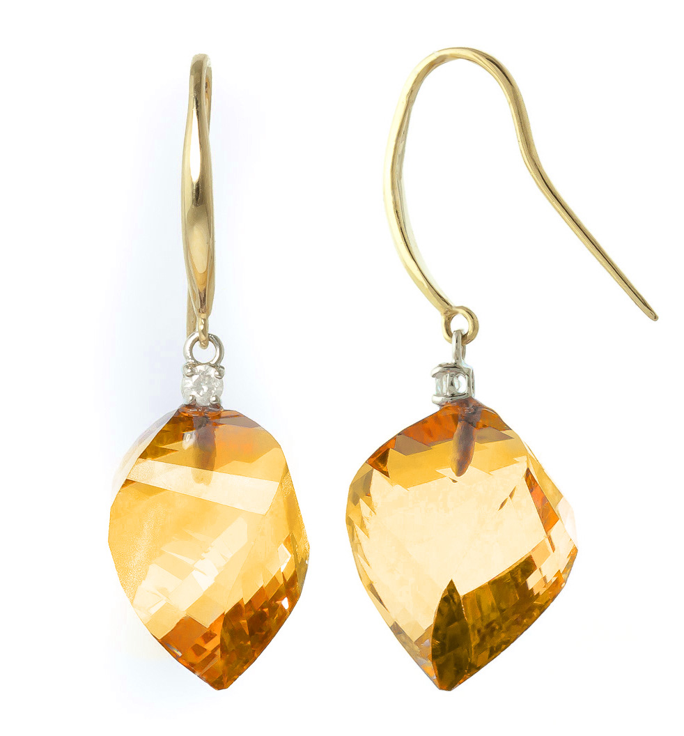 Citrine Drop Earrings 23.6 ctw in 9ct Gold