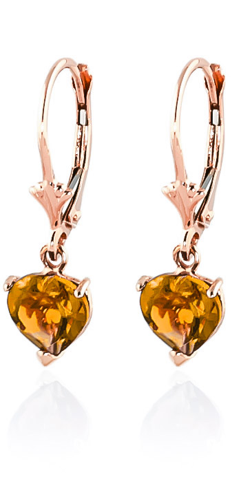 Citrine Drop Earrings 3.05 ctw in 9ct Rose Gold