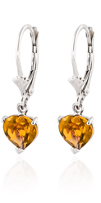 Citrine Drop Earrings 3.05 ctw in 9ct White Gold