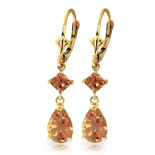 Citrine Droplet Earrings 4.5 ctw in 9ct Gold
