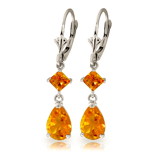 Citrine Droplet Earrings 4.5 ctw in 9ct White Gold