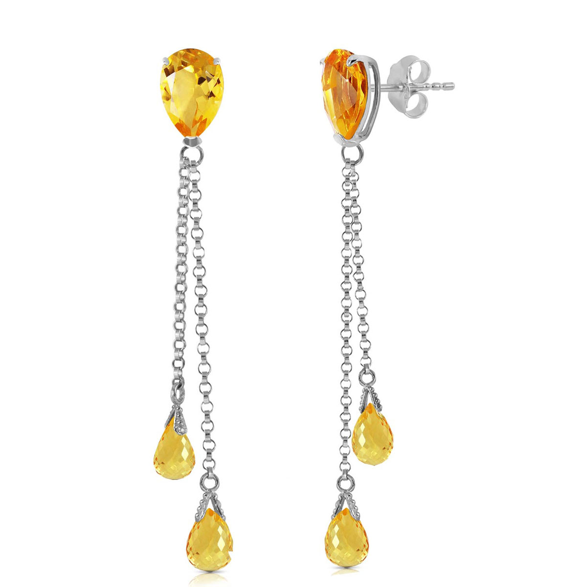 Citrine Droplet Earrings 7.5 ctw in 9ct White Gold