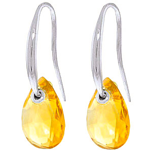 Citrine Droplet Earrings 8 ctw in 9ct White Gold