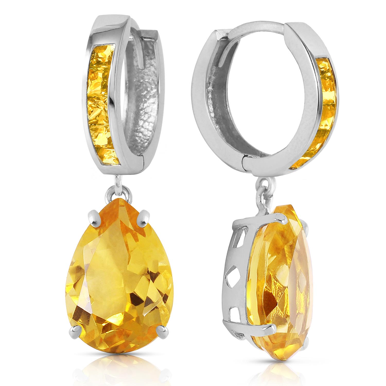 Image of  			   			  			   			  Citrine Droplet Huggie Earrings 13.2 ctw in 9ct White Gold