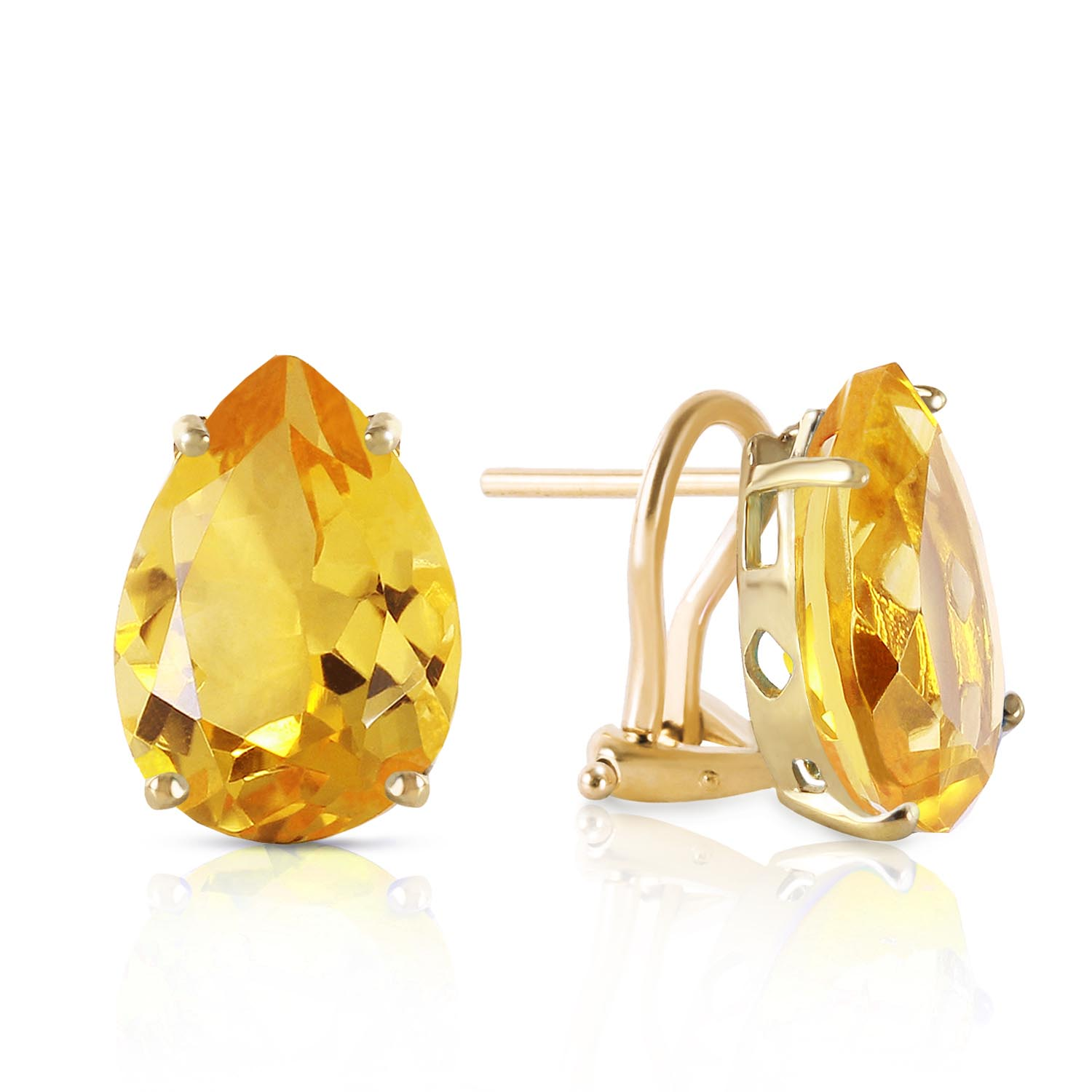 Citrine Droplet Stud Earrings 10 ctw in 9ct Gold