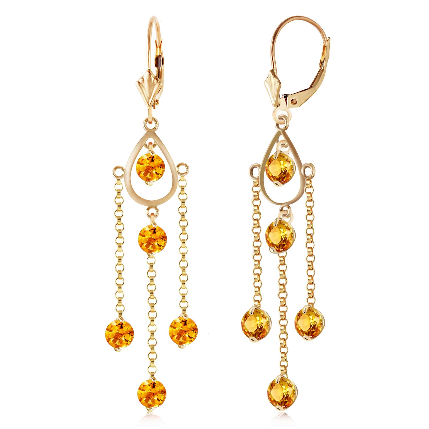 Citrine Faro Drop Earrings 3 ctw in 9ct Gold