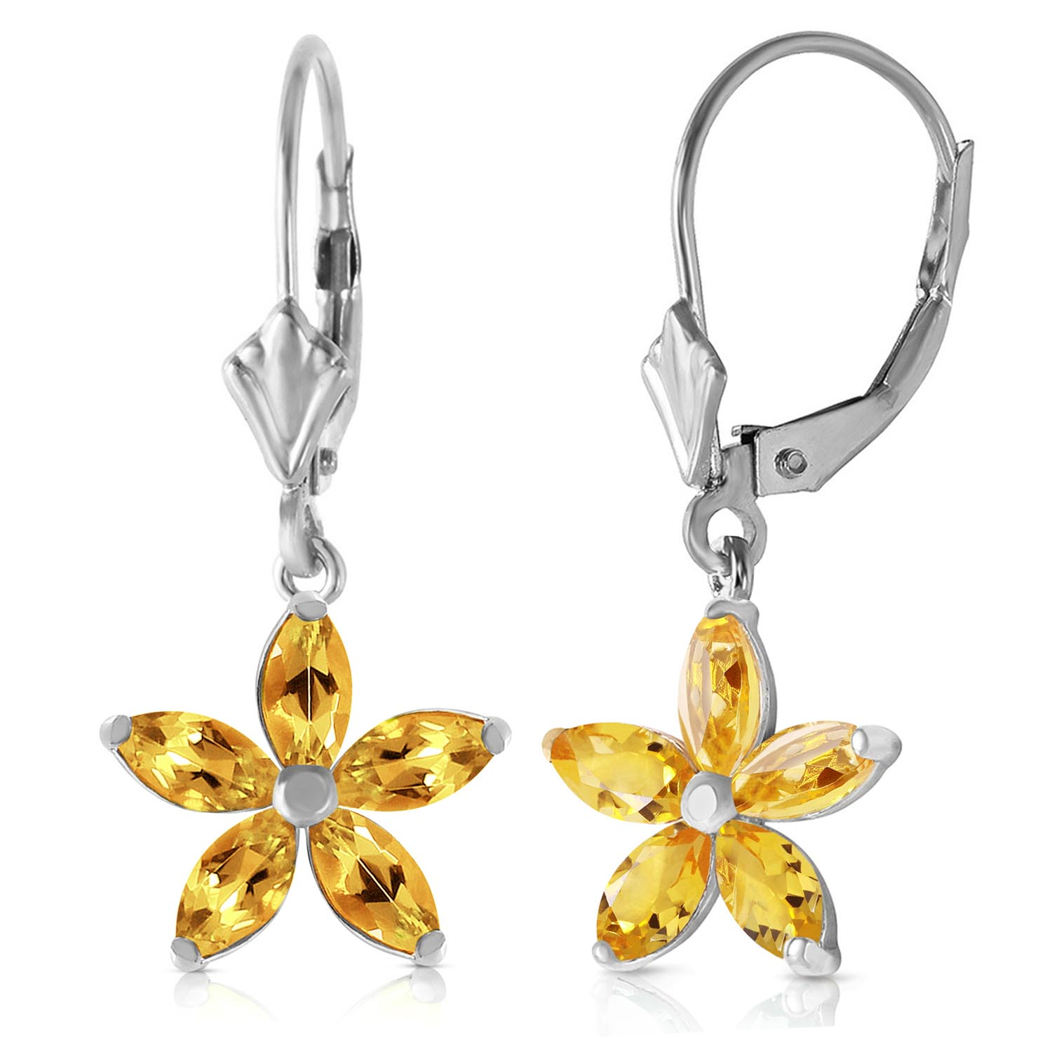 Citrine Flower Star Drop Earrings 2.8 ctw in 9ct White Gold