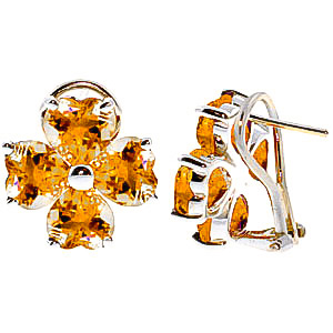 Image of Citrine Flower Stud Earrings 6.5 ctw in 9ct White Gold