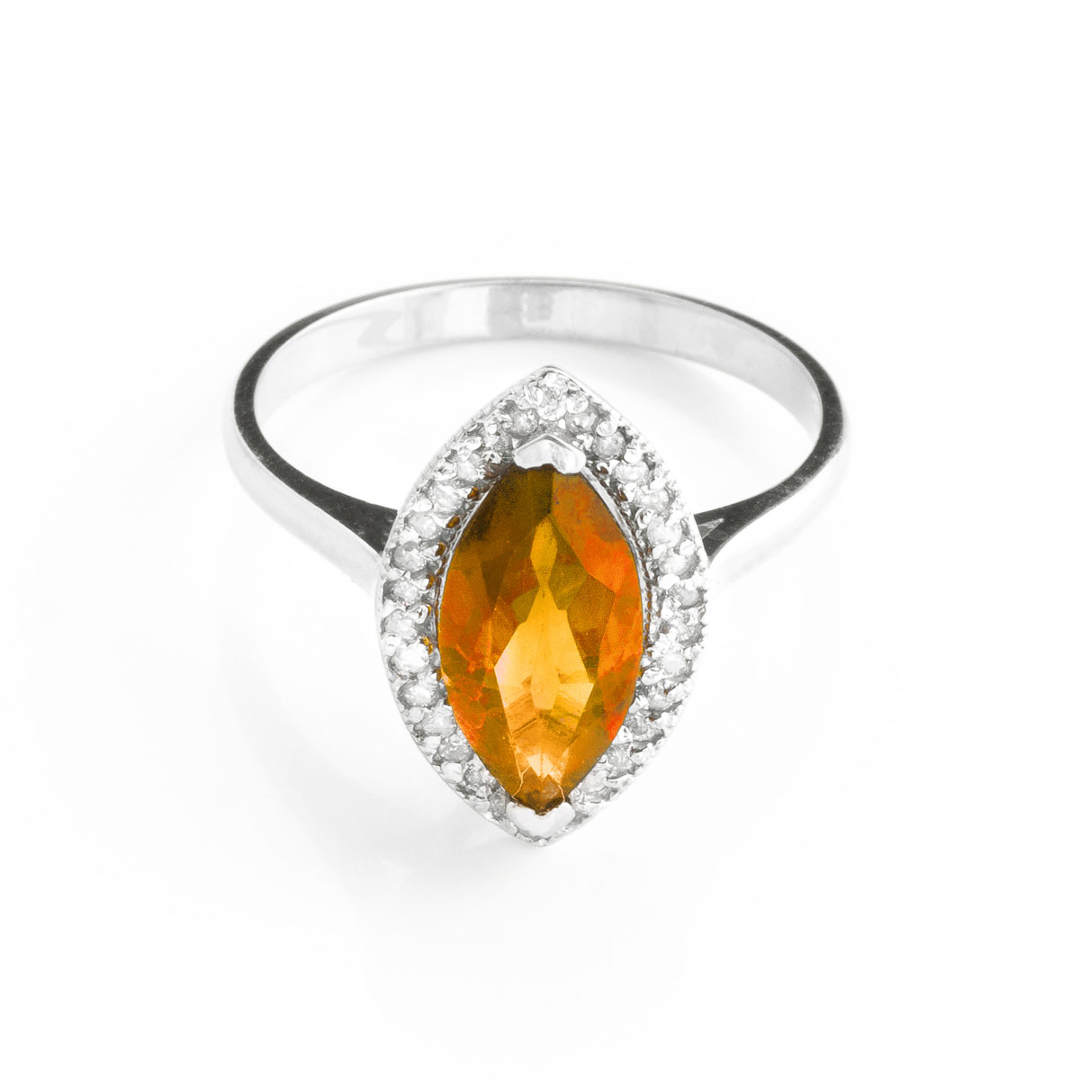 Citrine Halo Ring 1.8 ctw in 9ct White Gold