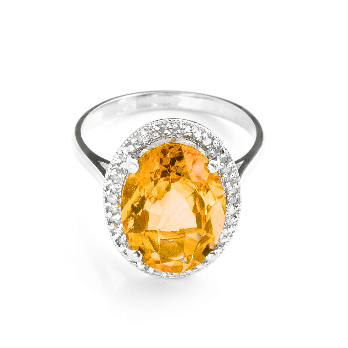 Citrine Halo Ring 5.28 ctw in 9ct White Gold