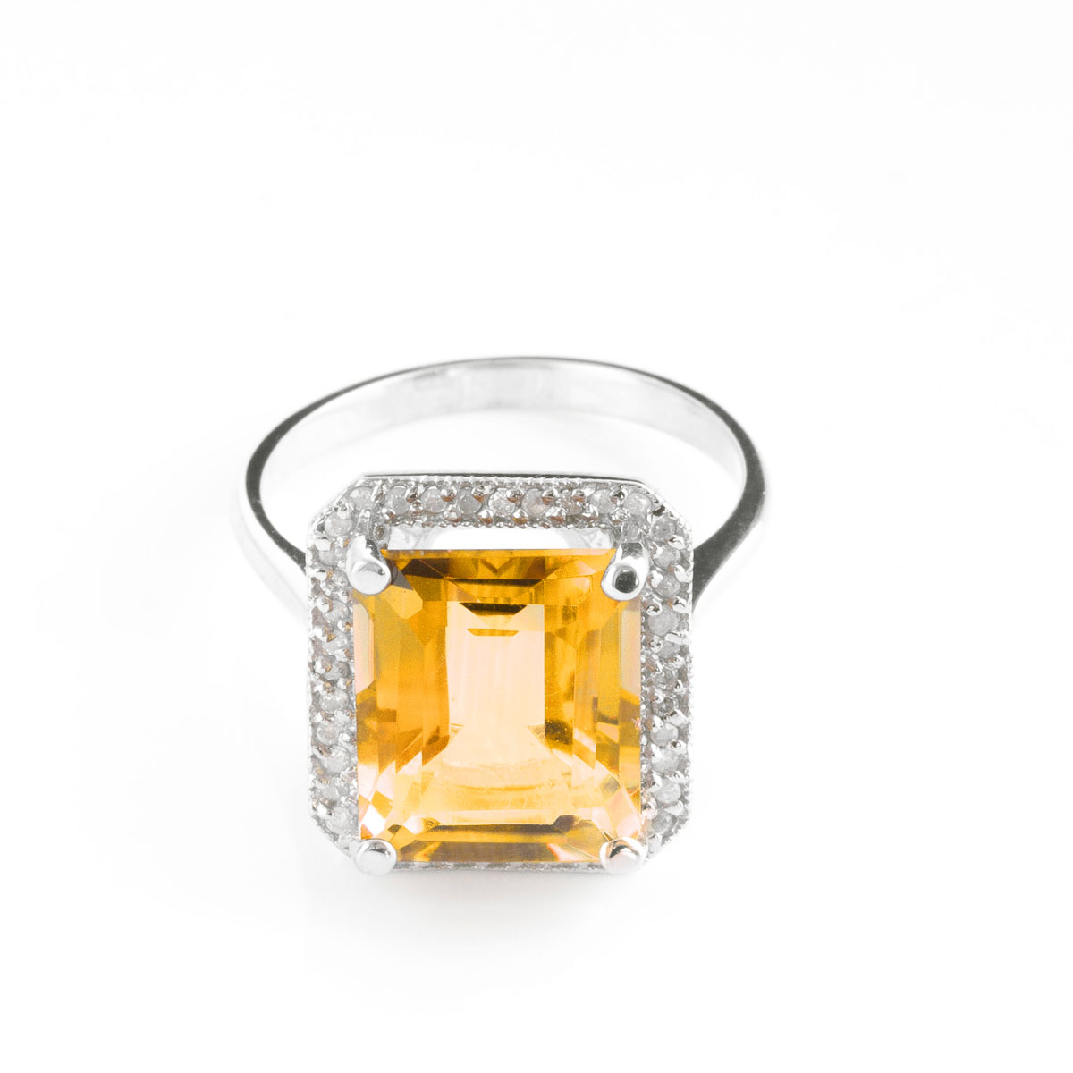 Citrine Halo Ring 5.8 ctw in 18ct White Gold