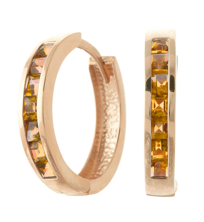 Citrine Huggie Earrings 1.2 ctw in 9ct Rose Gold