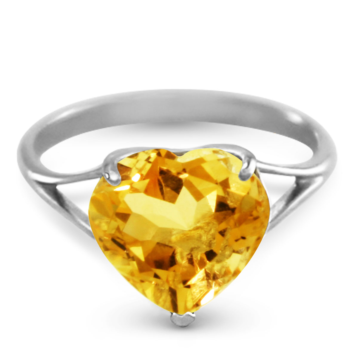 Citrine Large Heart Ring 3.1 ct in 18ct White Gold