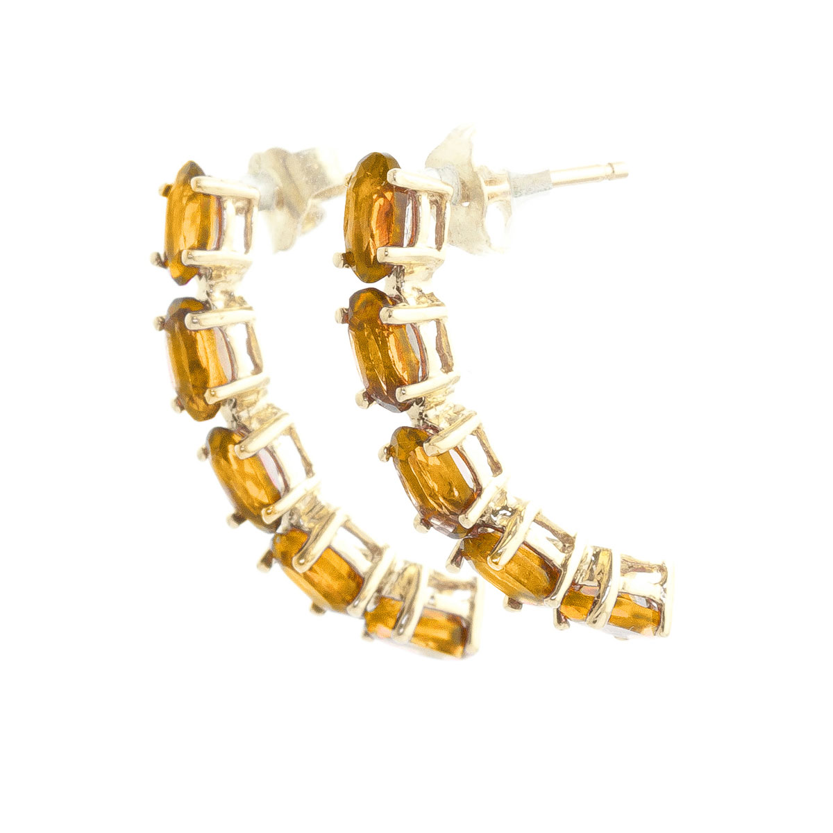 Citrine Linear Stud Earrings 2.5 ctw in 9ct Gold
