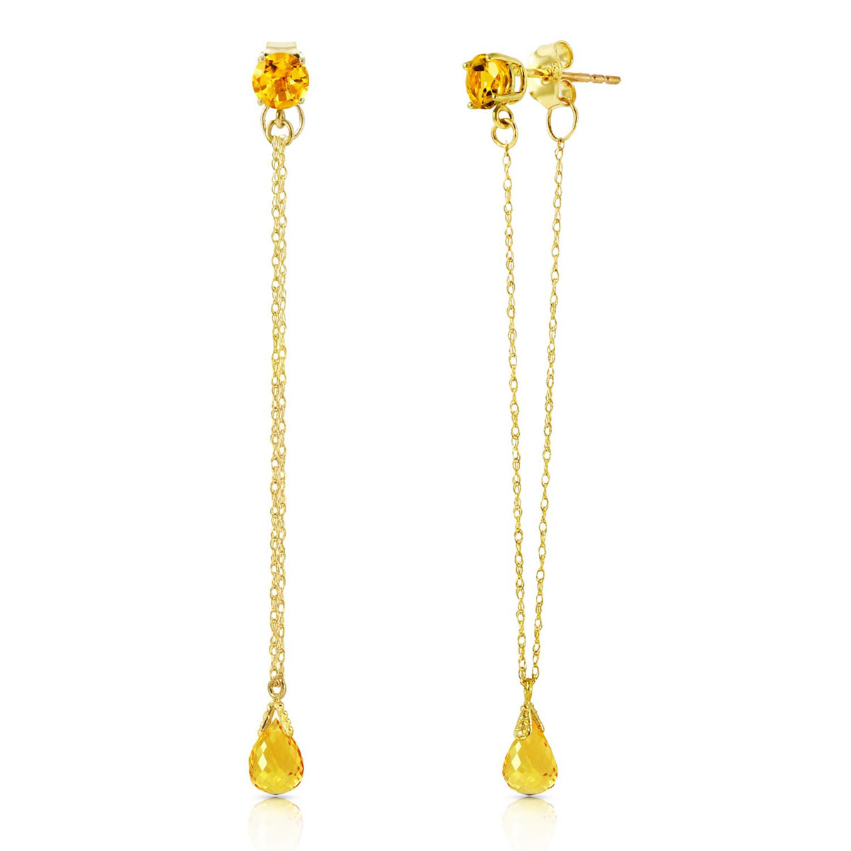 Citrine Monte Carlo Drop Earrings 1.15 ctw in 9ct Gold