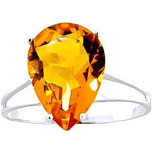Citrine Pear Drop Ring 5 ct in 18ct White Gold