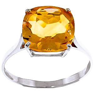 Citrine Rococo Ring 3.6 ct in 9ct White Gold
