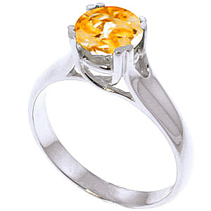 Citrine Solitaire Ring 1.1 ct in 18ct White Gold