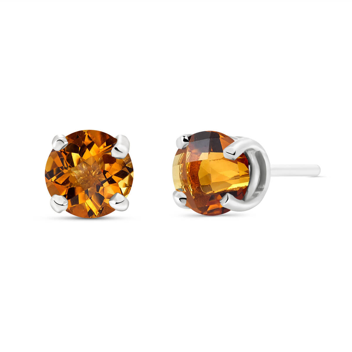 Citrine Stud Earrings 0.95 ctw in 9ct White Gold