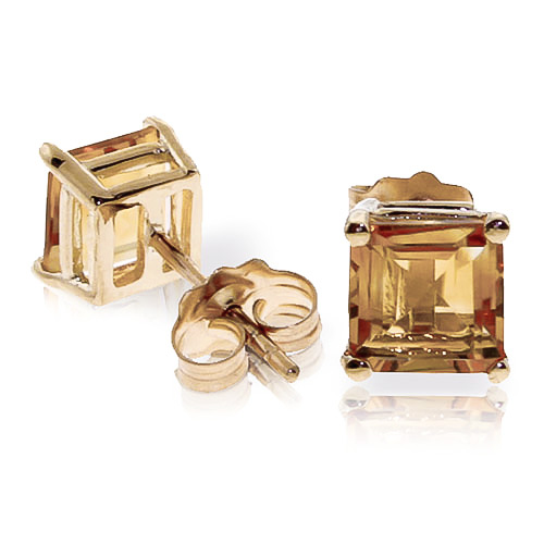 Citrine Stud Earrings 1.75 ctw in 9ct Gold