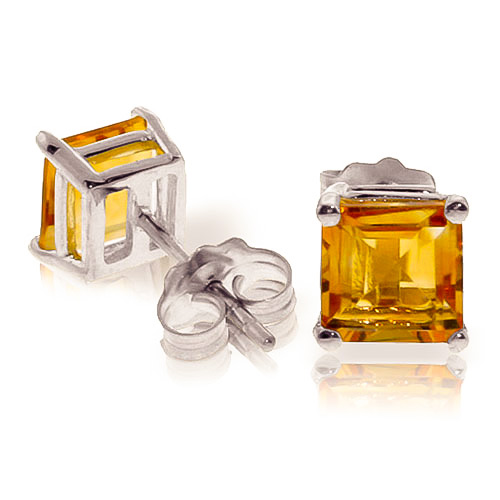 Citrine Stud Earrings 1.75 ctw in 9ct White Gold
