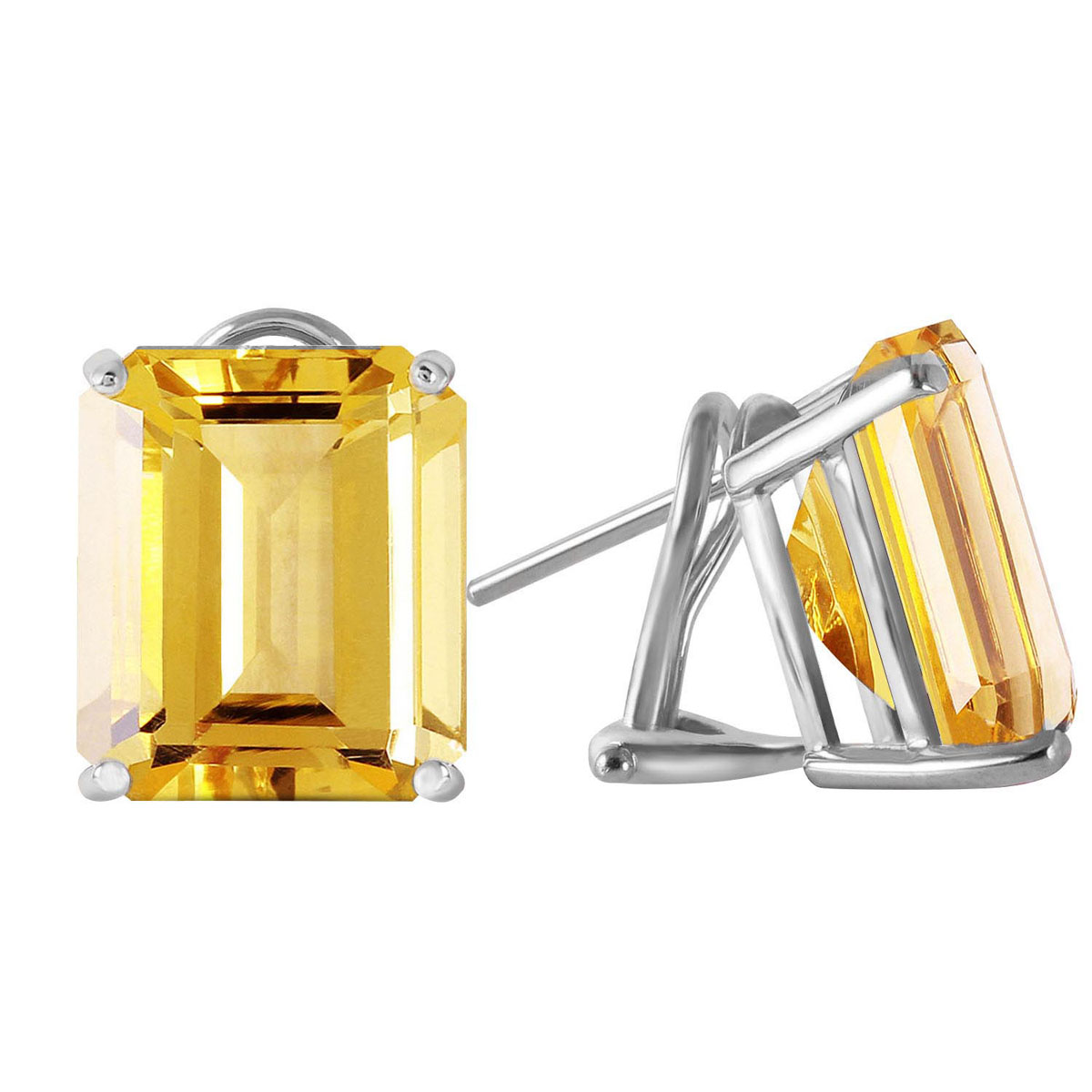 Citrine Stud Earrings 13 ctw in 9ct White Gold
