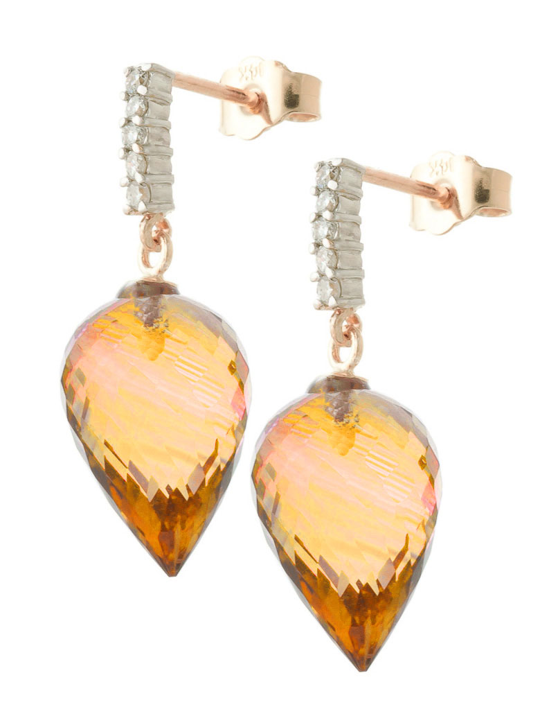 Citrine Stud Earrings 19.15 ctw in 9ct Rose Gold