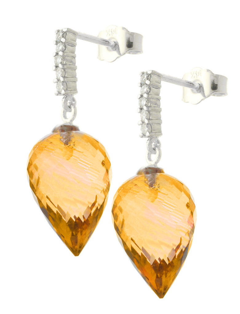 Citrine Stud Earrings 19.15 ctw in 9ct White Gold
