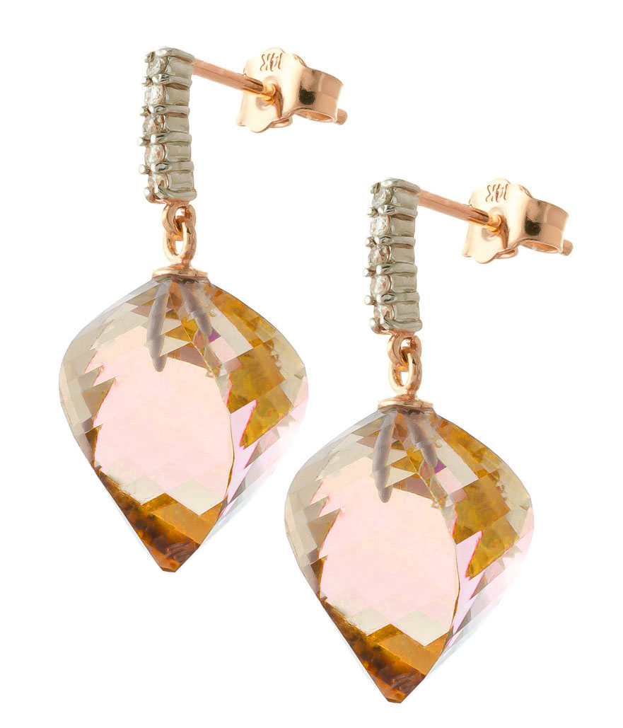 Citrine Stud Earrings 23.65 ctw in 9ct Rose Gold