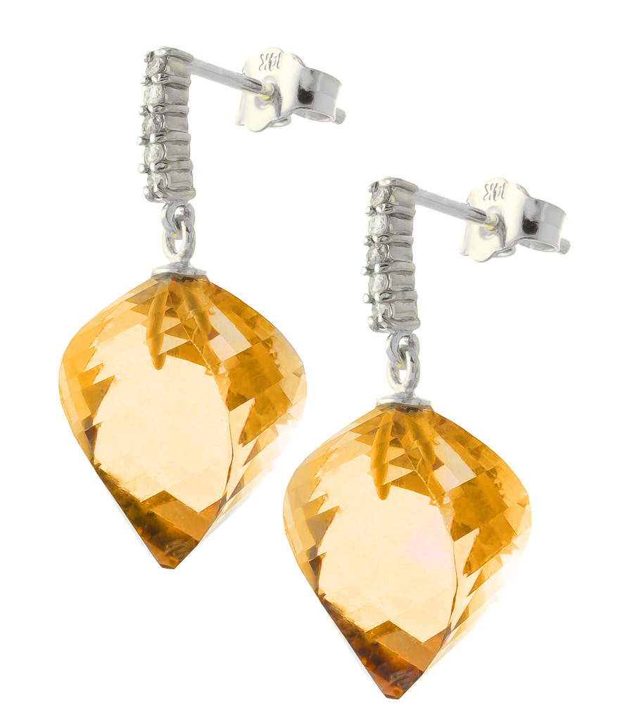 Citrine Stud Earrings 23.65 ctw in 9ct White Gold