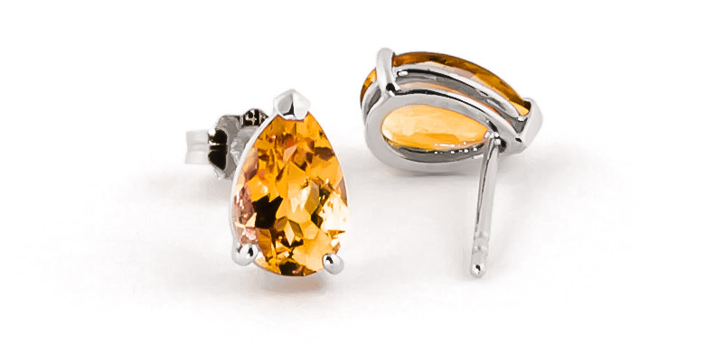 Citrine Stud Earrings 3.15 ctw in 9ct White Gold