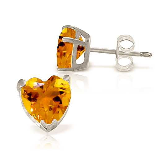 Citrine Stud Earrings 3.25 ctw in 9ct White Gold