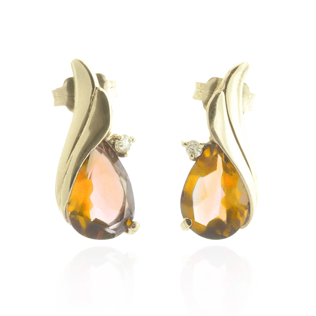 Citrine Stud Earrings 3.26 ctw in 9ct Gold