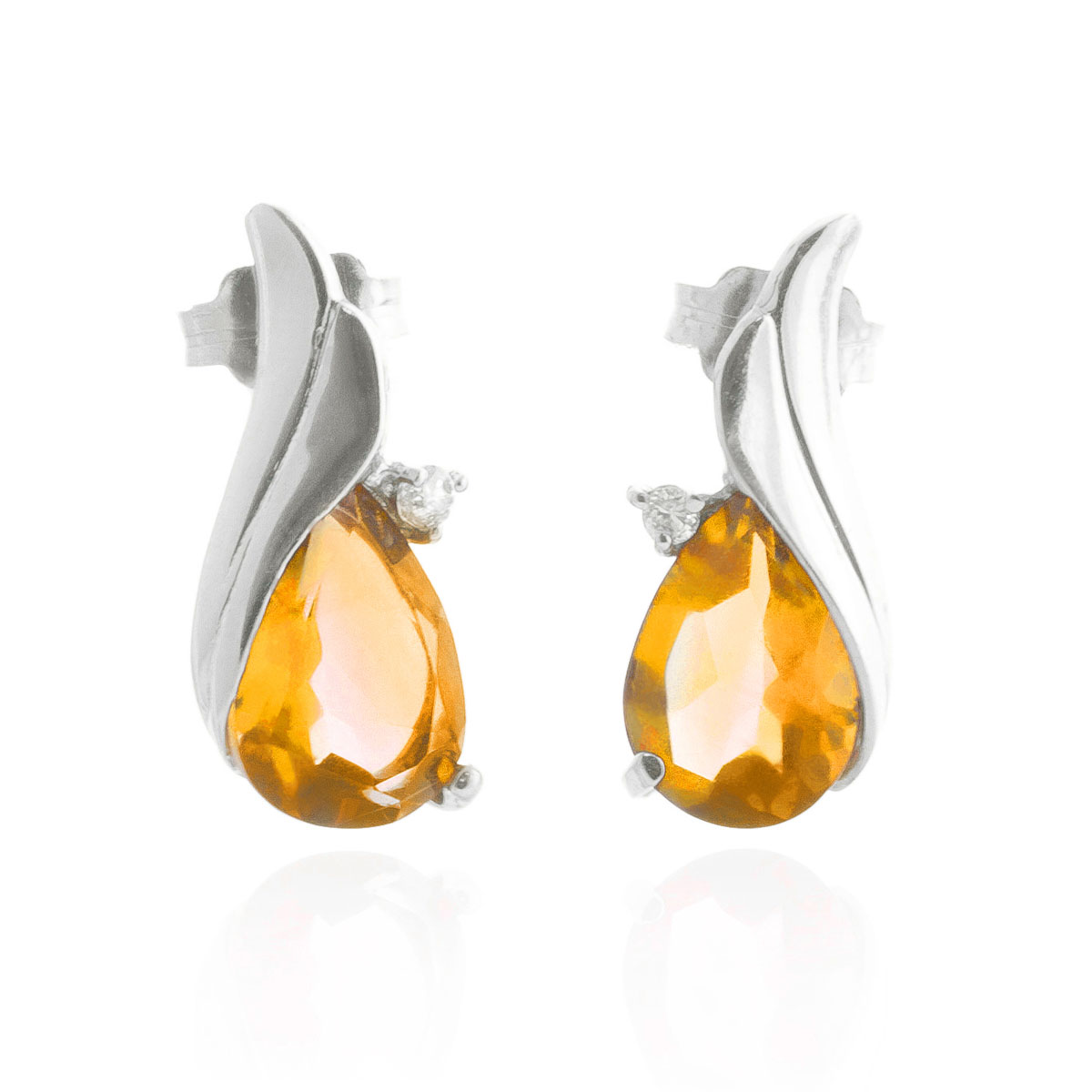 Citrine Stud Earrings 3.26 ctw in 9ct White Gold