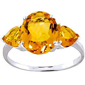 Citrine Three Stone Ring 3.5 ctw in 18ct White Gold