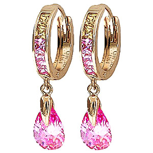 Cubic Zirconia Droplet Huggie Earrings 5.68 ctw in 9ct Gold