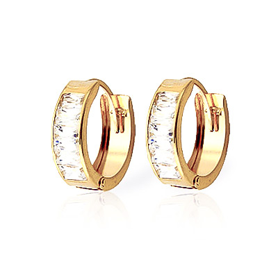 Cubic Zirconia Huggie Earrings 3.5 ctw in 9ct Gold