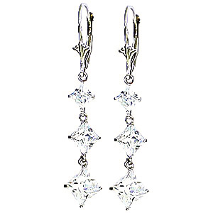 Cubic Zirconia Two Tier Drop Earrings 6.79 ctw in 9ct White Gold