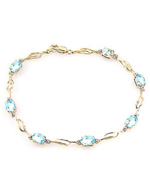 Aquamarine & Diamond Classic Tennis Bracelet in 9ct Gold