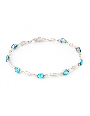 Blue Topaz & Diamond Classic Tennis Bracelet in 9ct White Gold