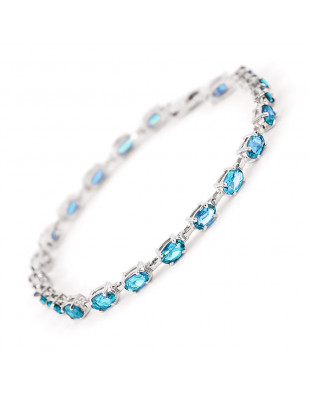 Blue Topaz Infinite Tennis Bracelet 5.5 ctw in 9ct White Gold