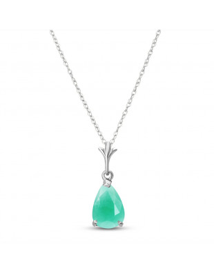 Emerald Belle Pendant Necklace 1 ct in 9ct White Gold